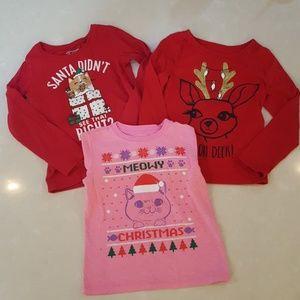 shirts tops bundle of 3 girls christmas shirts - Girls Christmas Shirts